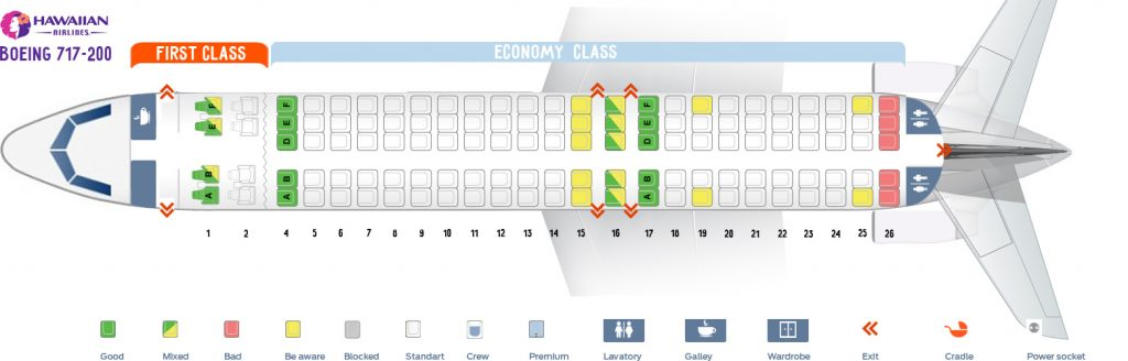 Seat map and seating chart Boeing 717 200 717 Hawaiian Airlines