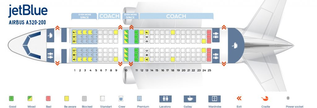 Seat map and seating chart of Airbus A320 320 JetBlue Airways