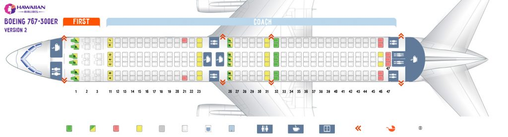 Second cabin seat map and seating chart Boeing 767 300ER 763 V2 Hawaiian Airlines