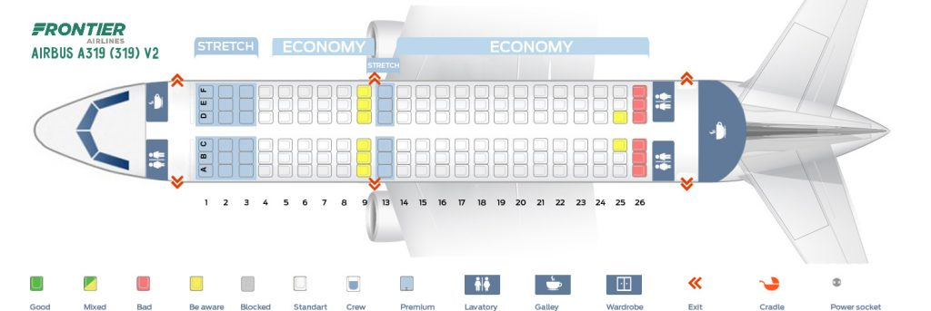 Second Cabin Seat Map And Seating Chart Frontier Airlines Airbus A319 100 319 V2
