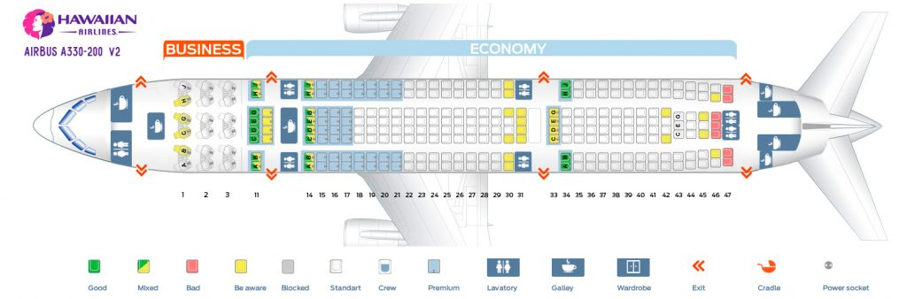 Second cabin seating chart and seat map of the Hawaiian Airlines Airbus A330 200 332 V2