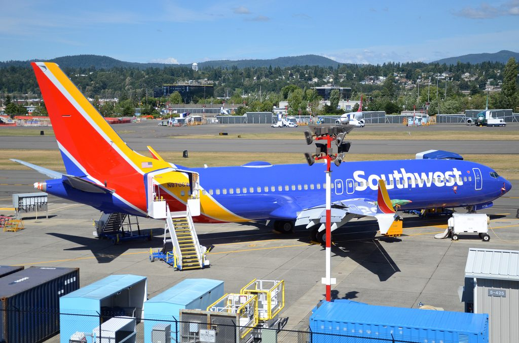 Southwest Airlines Boeing 737 8 Max N8706W parking at Renton Municipal Airport RNT