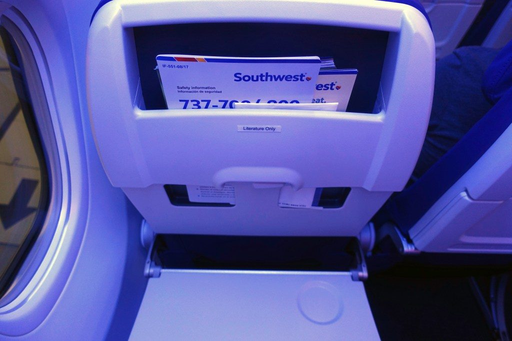 Southwest Airlines Boeing 737 Max 8 Aircraft Details Backseats Tray table photos