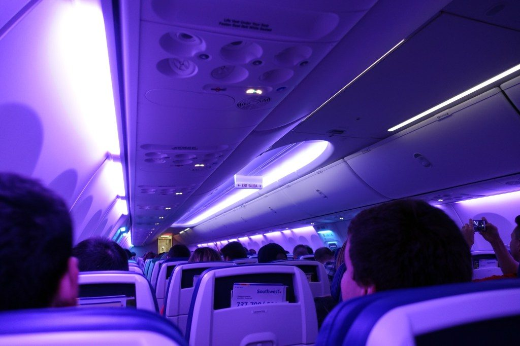 Southwest Airlines Boeing 737 Max 8 Economy Cabin purple mood lighting photos