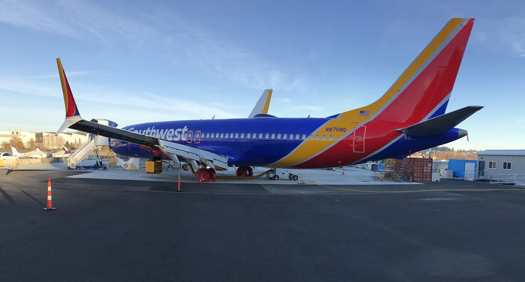 Southwest Airlines Boeing 737 Max 8 Reg N8708Q parking at Renton