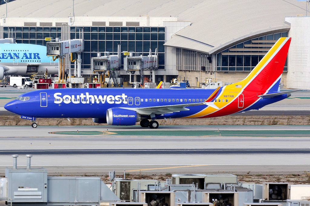 Southwest Airlines Boeing 737 Max 8 Registration N8716B taxiing at Los Angeles International