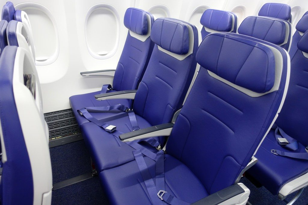 Southwest Airlines Boeing 737 Max 8 Standard Seats Pitch Legroom Photos
