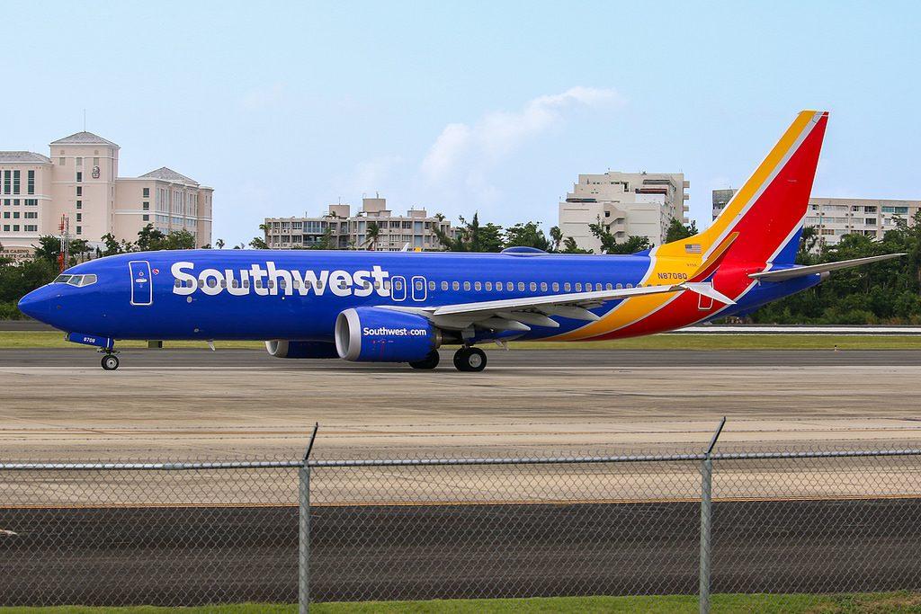 Southwest Airlines Boeing 737Max 8 Reg N8708Q at San Juan Luis Muñoz Marín Airport SJU Puerto Rico