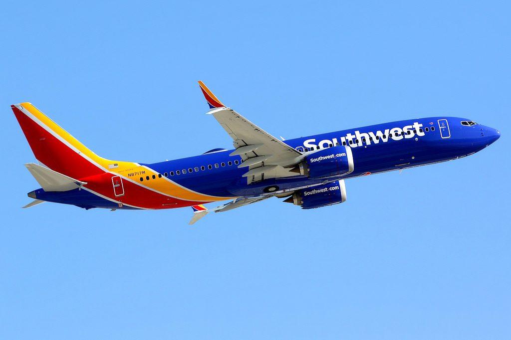 Southwest Airlines N8717M Boeing 737 Max 8 departing Las Vegas McCarran Airport