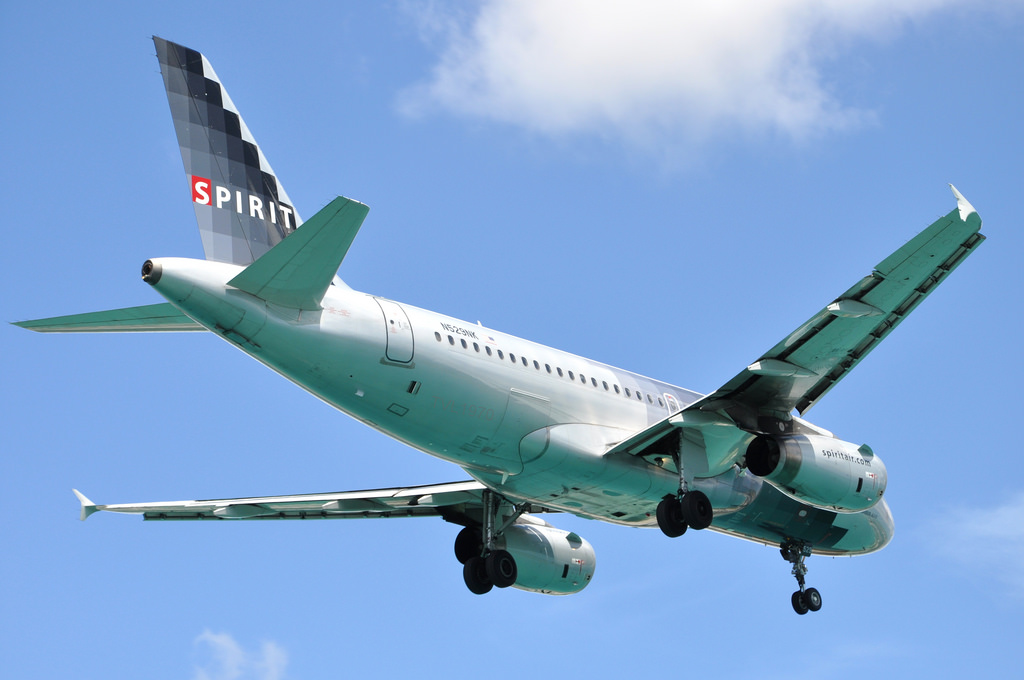 Spirit Airlines Airbus A319 100 N529NK on final approach at Queen Beatrix International Airport Aruba