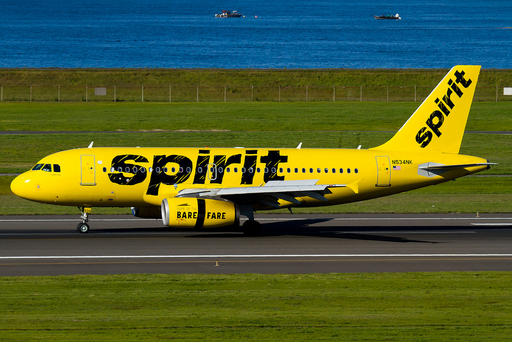 Spirit Airlines Airbus A319 100 N534NK landing with reverse thrust engines at Portland International Airport
