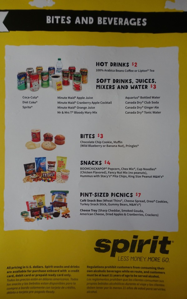 Spirit Airlines Airbus A319 100 onboard inflight services bites and beverages menu