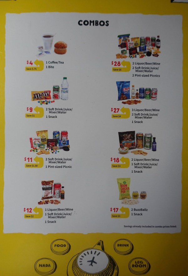 Spirit Airlines Airbus A319 100 onboard inflight services snacks and drinks combos menu
