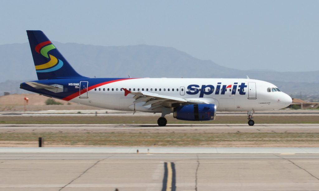 Spirit Airlines Airbus A319 132 N519NK at Phoenix–Mesa Gateway Airport