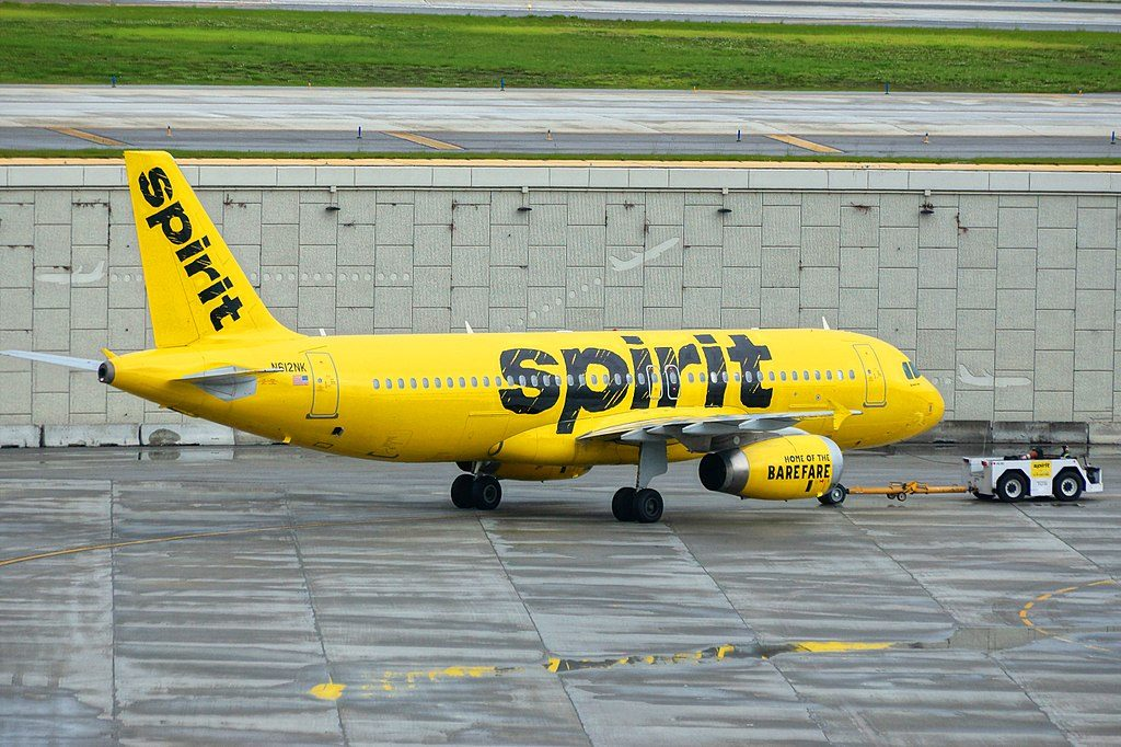Spirit Airlines Airbus A320 200 N612NK pushed by tug at Fort Lauderdale – Hollywood International Airport