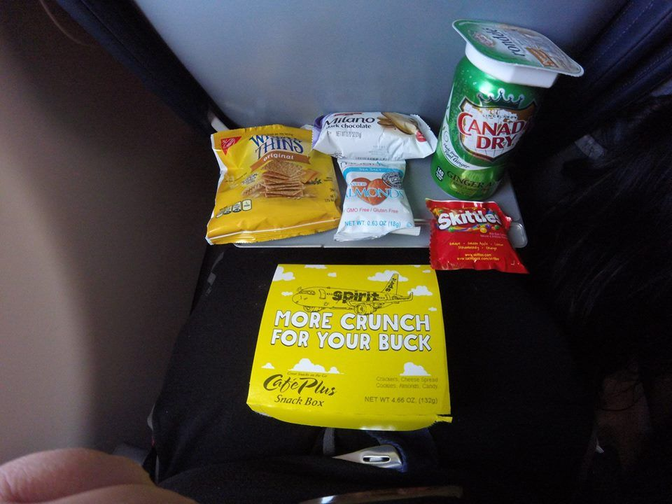 Spirit Airlines Airbus A321 200 Economy Cabin Coach Seats inflight buy on board services snack box and ginger ale 2