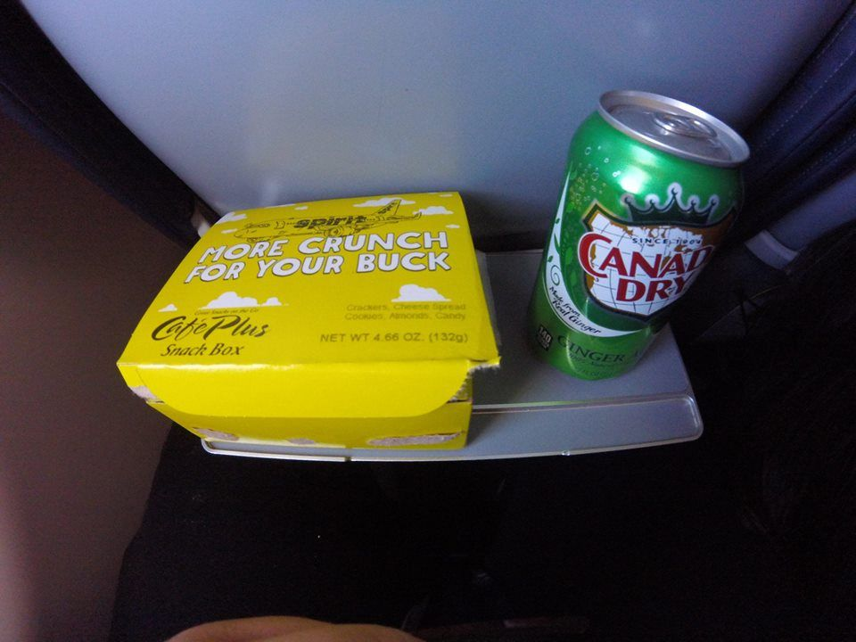 Spirit Airlines Airbus A321 200 Economy Cabin Coach Seats inflight buy on board services snack box and ginger ale