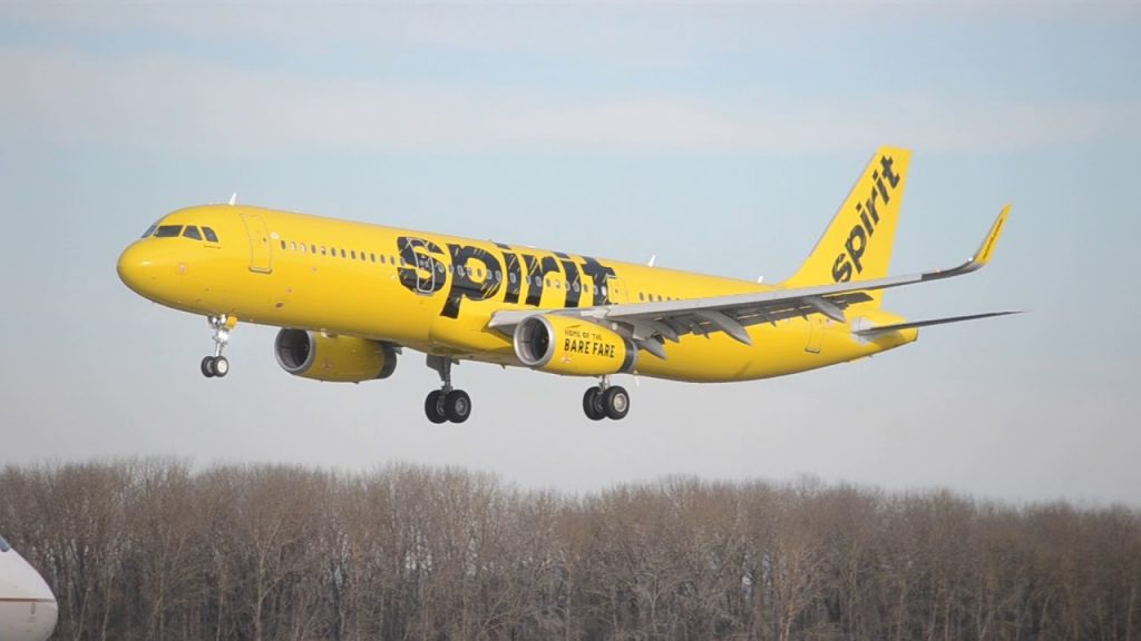 Spirit Airlines Airbus A321 200 N684NK on final before landing at PDX Portland International Airport