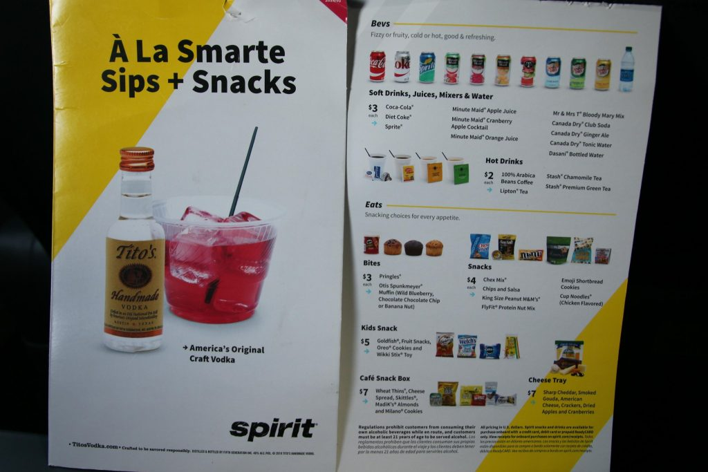 Spirit Airlines Airbus A321 200 Onboard Cabin Buy On Board Snacks Drinks and Beverages Menu