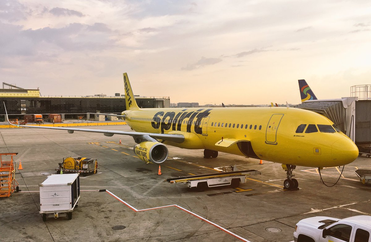 Spirit Airlines Fleet Airbus A321 200 N674NK on jetway at Chicago OHare International Airport