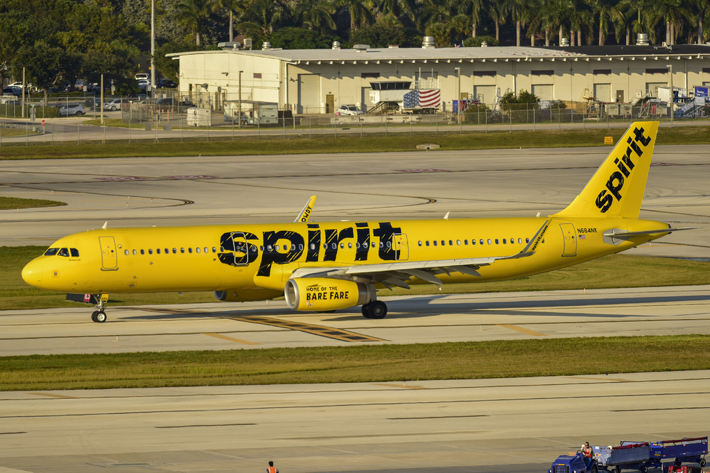 Spirit Airlines N664NK Airbus A321 200 narrow body aircraft taxiing at Fort Lauderdale