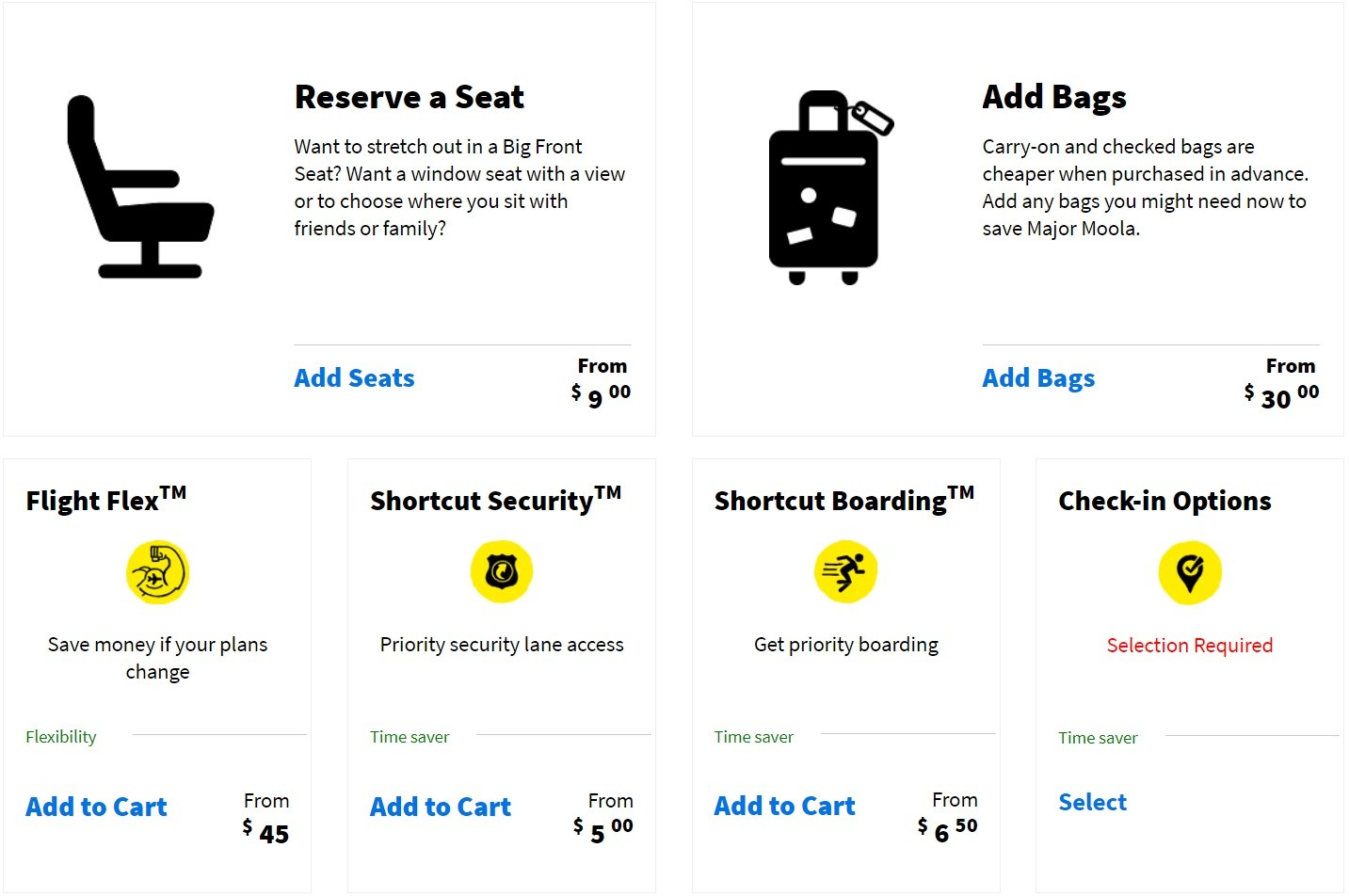 Spirit Airlines Tickets Booking Inflight AddOn seats and bags option