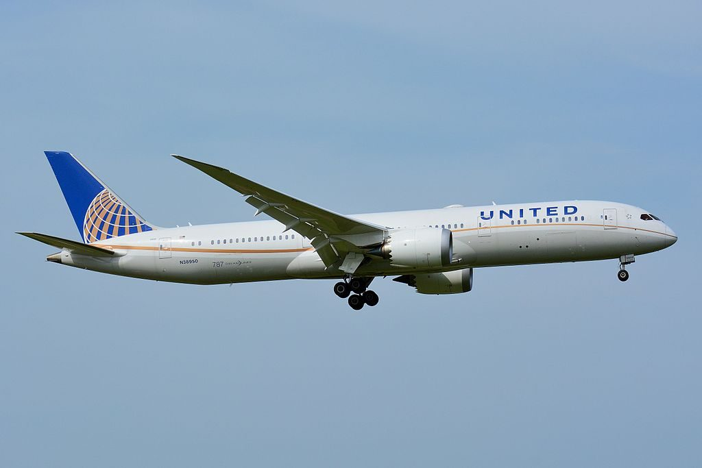 United Airlines Aircraft Fleet 2014 to date as N38950 Boeing 787 9 Dreamliner cnserial number 36401181 on final approach at Narita International Airport