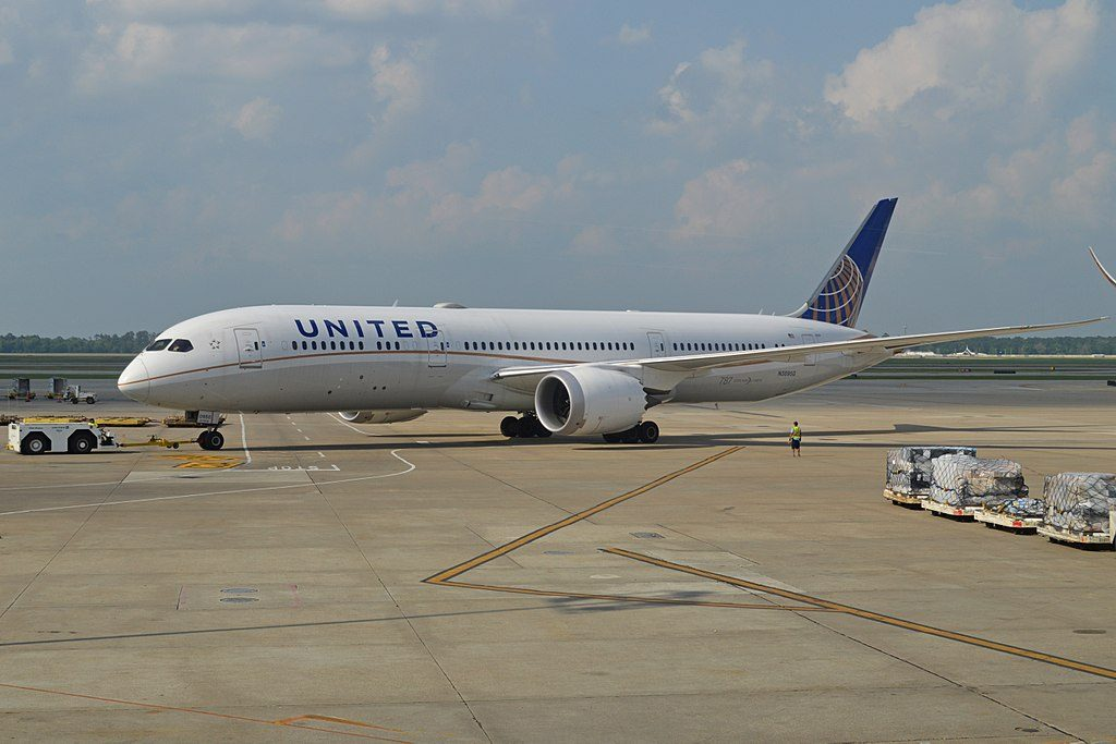 United Airlines Aircraft Fleet 2014 to date as N38950 Boeing 787 9 Dreamliner cnserial number 36401181 pushed back at George Bush Intercontinental Airport Houston Texas United States