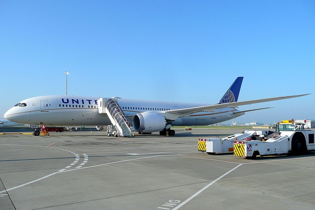 United Airlines Aircraft Fleet 2015 to date as N36962 Boeing 787 9 Dreamliner cnserial number 35880365 passenger boarding at London Heathrow Airport