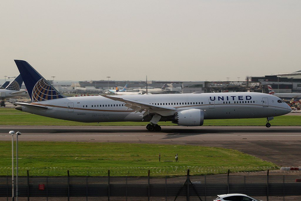 United Airlines Aircraft Fleet 2015 to date as N38955 Boeing 787 9 Dreamliner cnserial number 37814297 landing and takeoff at London Heathrow Airport