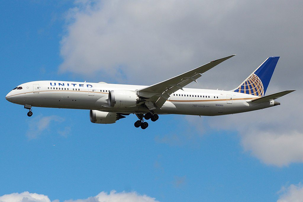 United Airlines Aircraft Fleet 2015 to date as N38955 Boeing 787 9 Dreamliner cnserial number 37814297 landing gears down for arrival at London Heathrow Airport