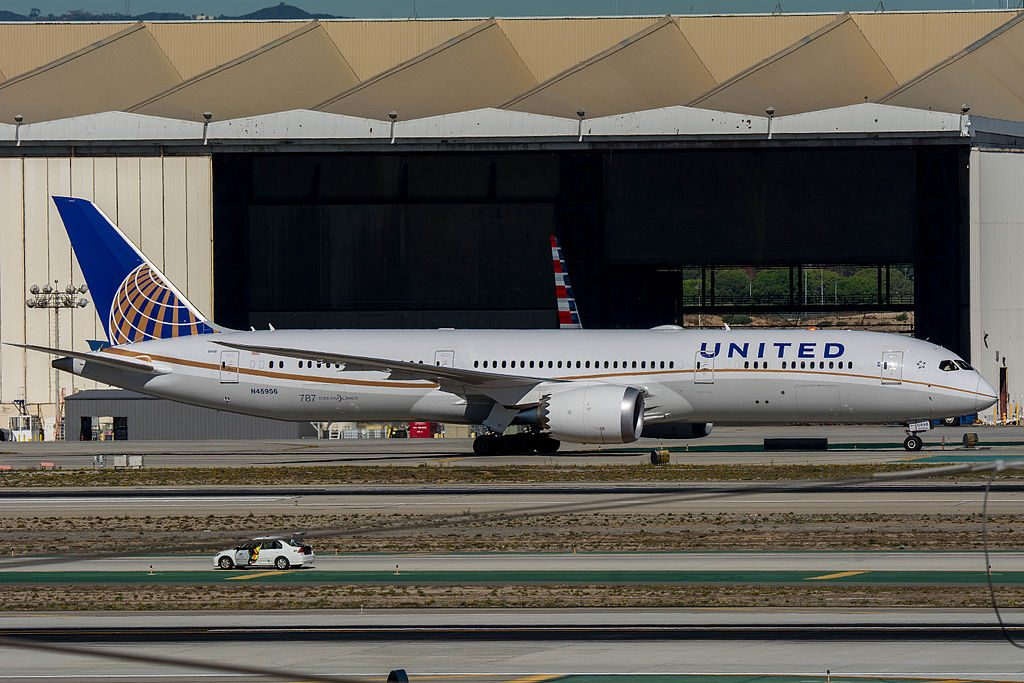 United Airlines Aircraft Fleet 2015 to date as N45956 Boeing 787 9 Dreamliner cnserial number 40918324 taxiing at LAX
