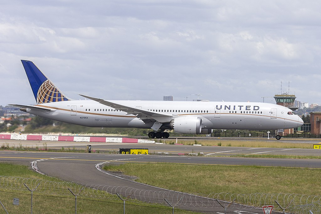 United Airlines Aircraft Fleet 2016 to date as N27964 Boeing 787 9 Dreamliner cnserial number 37813398 departing Sydney Airport Australia