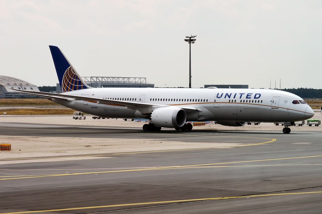 United Airlines Aircraft Fleet 2016 to date as N27965 Boeing 787 9 Dreamliner cnserial number 37815402 taxiing on runway at Frankfurt Airport IATA FRA ICAO EDDF