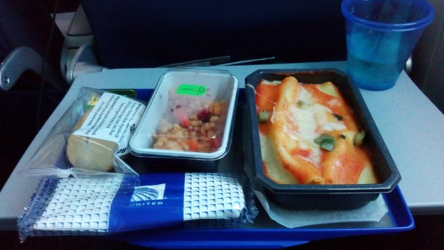 United Airlines Aircraft Fleet Boeing 787 8 Dreamliner Economy Class Cabin Inflight Meal Food leftover pasta version spinach manicotti