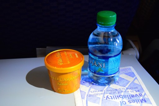 United Airlines Aircraft Fleet Boeing 787 8 Dreamliner Economy Plus Premium Eco Cabin inflight amenities After dinner water bottles and gelato were distributed