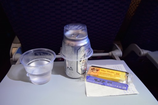 United Airlines Aircraft Fleet Boeing 787 8 Dreamliner Economy Plus Premium Eco Cabin inflight amenities services Asahi water and a cheesecracker packet