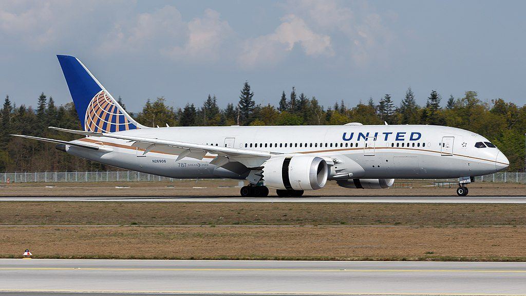 United Airlines Aircraft Fleet Boeing 787 8 Dreamliner N26906 cnserial number 3482977 at Frankfurt Airport IATA FRA ICAO EDDF with reverse thrust engines