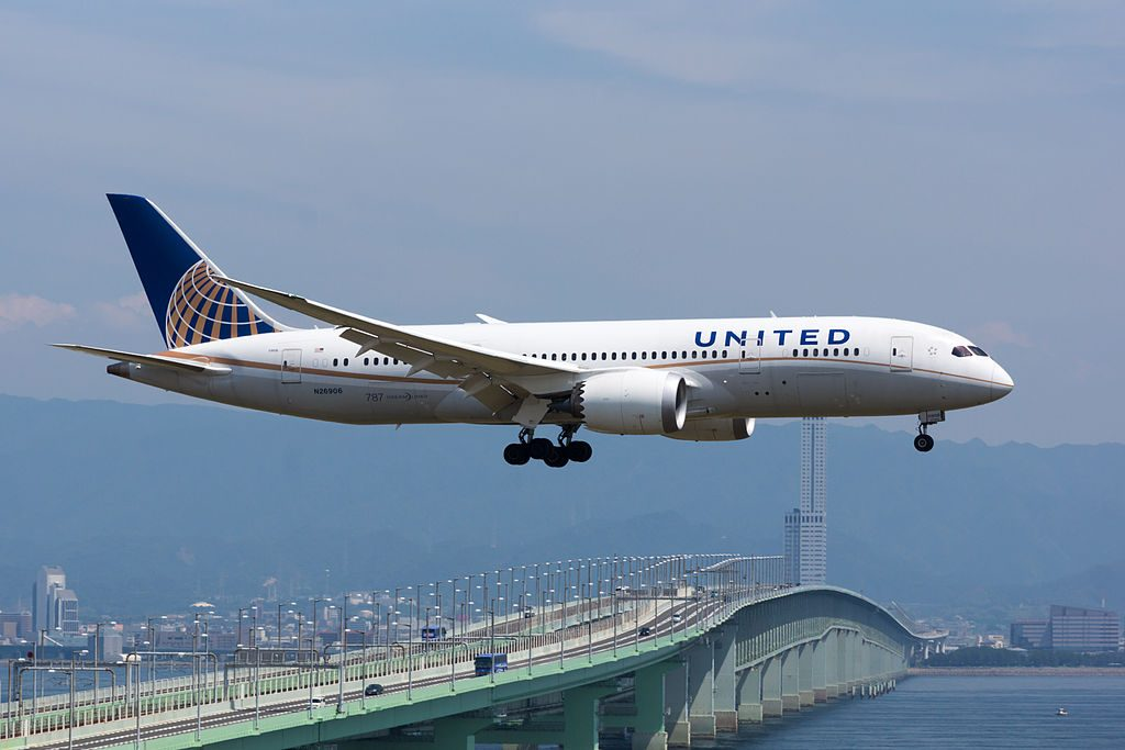 United Airlines Aircraft Fleet Boeing 787 8 Dreamliner N26906 cnserial number 3482977 on final approach at Kansai International Airport