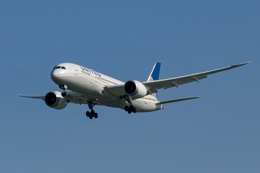 United Airlines Aircraft Fleet Boeing 787 8 Dreamliner N26910 cnserial number 34826145 on final approach at Beijing Capital International Airport IATA PEK ICAO ZBAA