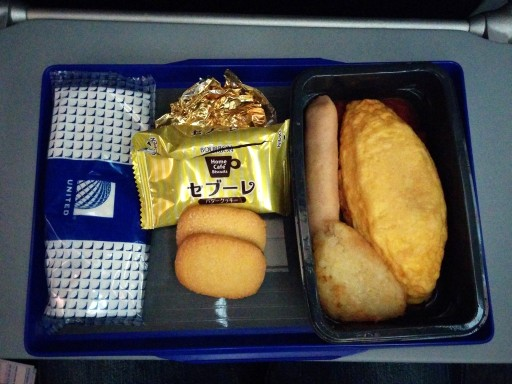 United Airlines Aircraft Fleet Boeing 787 9 Dreamliner Economy Class Cabin Breakfast Services omelet and orange juice