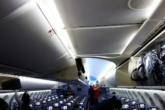 United Airlines Aircraft Fleet Boeing 787 9 Dreamliner Economy Class Cabin Configuration and Seating Chart With Overhead Bins Panel