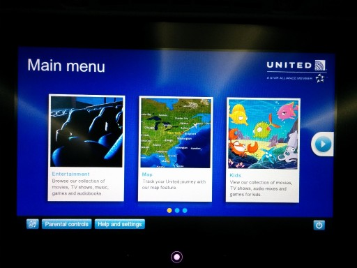 United Airlines Aircraft Fleet Boeing 787 9 Dreamliner Economy Class Cabin IFE Entertainment System