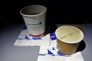 United Airlines Aircraft Fleet Boeing 787 9 Dreamliner Economy Class Cabin Inflight Amenities Dessert caramel gelato