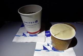 United Airlines Aircraft Fleet Boeing 787 9 Dreamliner Economy Class Cabin Inflight Amenities Dessert caramel gelato