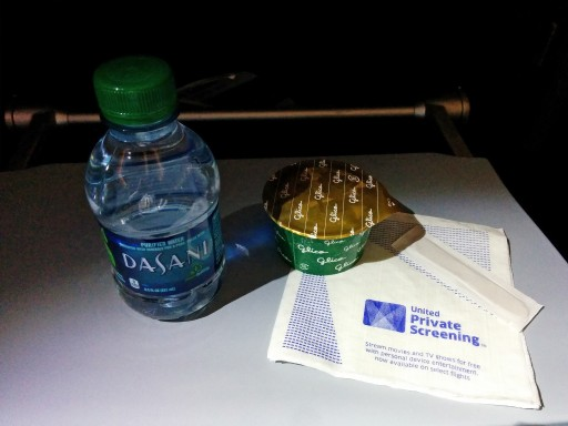 United Airlines Aircraft Fleet Boeing 787 9 Dreamliner Economy Class Cabin Inflight Amenities Ice cream and bottled water were distributed after the tray was collected