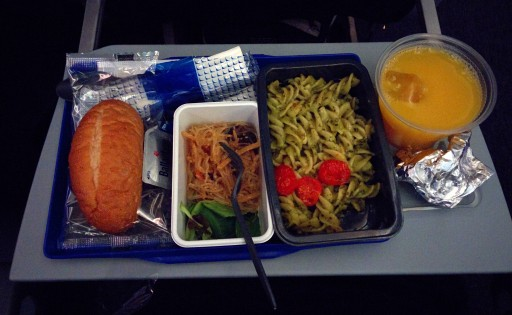 United Airlines Aircraft Fleet Boeing 787 9 Dreamliner Economy Class Cabin Inflight Amenities Meal Food Services Pasta Bread and salad