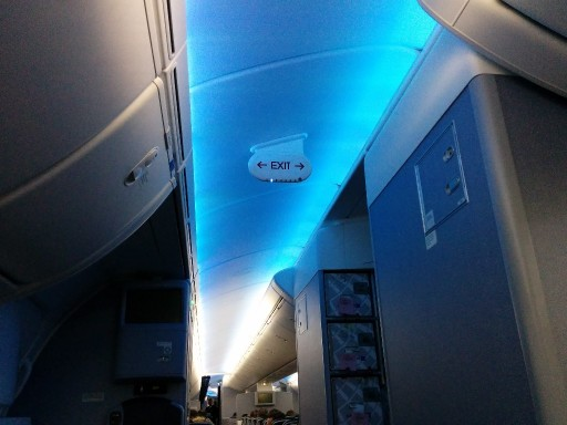 United Airlines Aircraft Fleet Boeing 787 9 Dreamliner Economy Class Cabin LED mood lighting system for B787