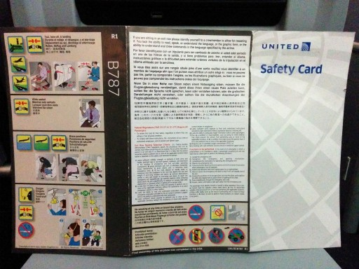 United Airlines Aircraft Fleet Boeing 787 9 Dreamliner Economy Class Cabin Safety card