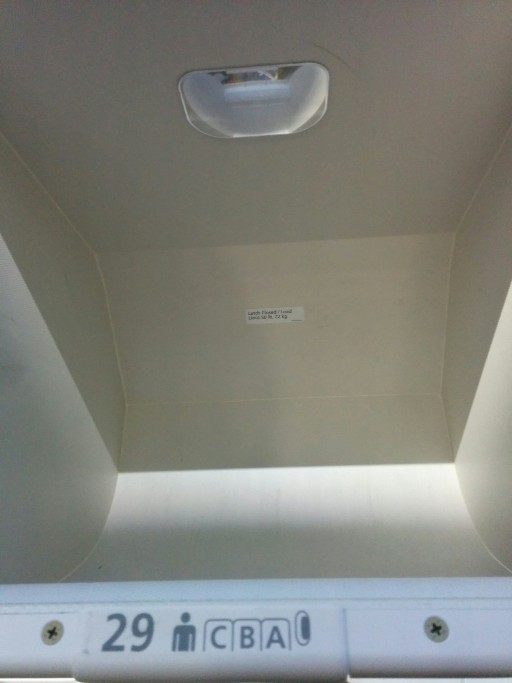 United Airlines Aircraft Fleet Boeing 787 9 Dreamliner Economy Class Cabin The overhead bin Mirrors are installed inside the bins
